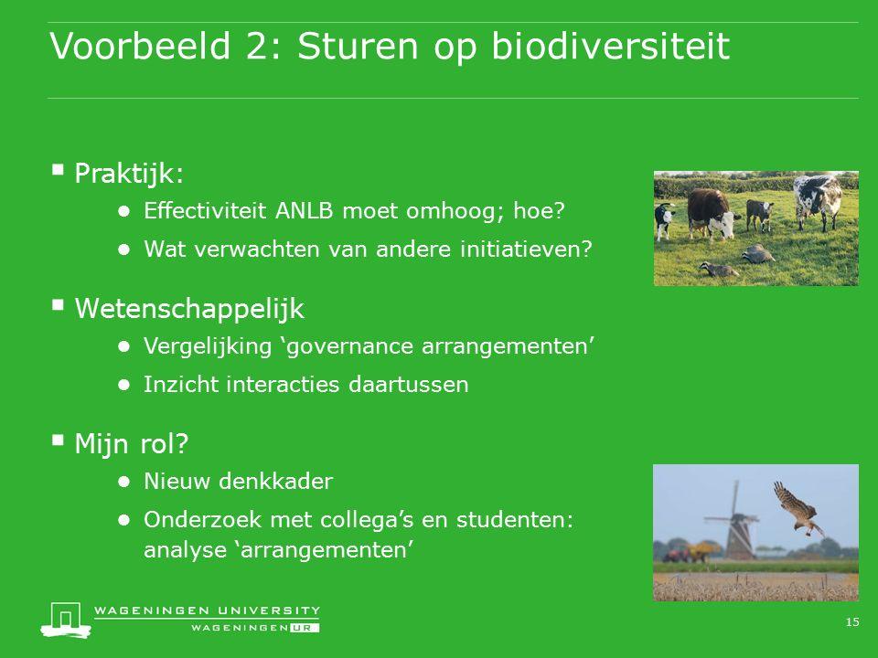 Voorbeeld 2: Sturen op biodiversiteit  Praktijk: ● Effectiviteit ANLB moet omhoog; hoe? ● Wat verwachten van andere initiatieven?  Wetenschappelijk