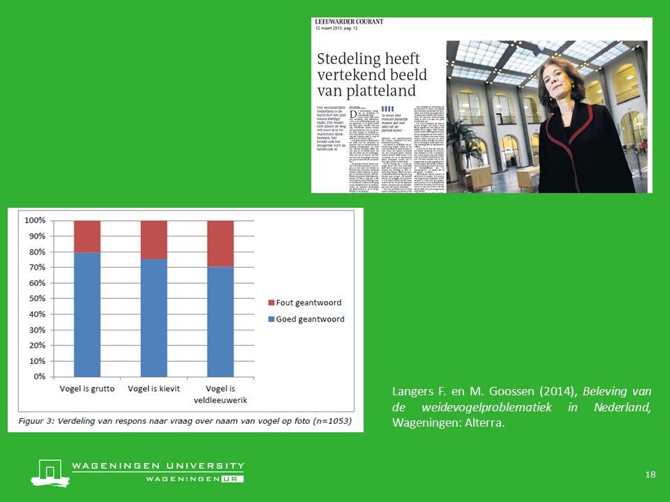 18 Langers F. en M. Goossen (2014), Beleving van de weidevogelproblematiek in Nederland, Wageningen: Alterra.