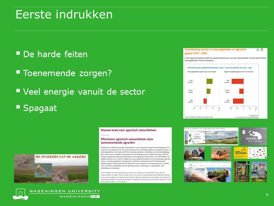 Eerste indrukken  De harde feiten  Toenemende zorgen  Veel energie vanuit de sector  Spagaat 9
