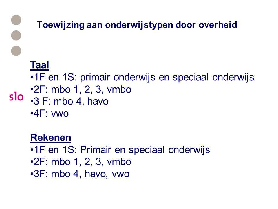 Toewijzing aan onderwijstypen door overheid Taal 1F en 1S: primair onderwijs en speciaal onderwijs 2F: mbo 1, 2, 3, vmbo 3 F: mbo 4, havo 4F: vwo Reke
