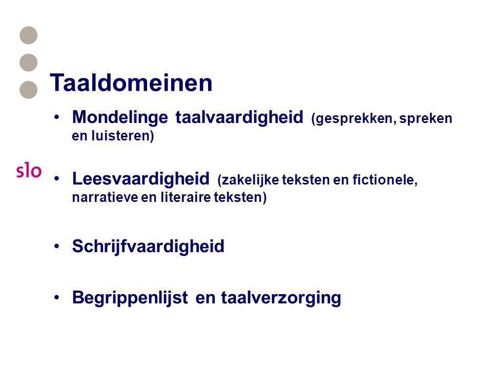 Taaldomeinen Mondelinge taalvaardigheid (gesprekken, spreken en luisteren) Leesvaardigheid (zakelijke teksten en fictionele, narratieve en literaire teksten) Schrijfvaardigheid Begrippenlijst en taalverzorging