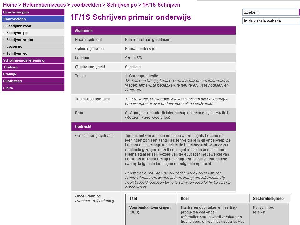 1F/1S Schrijven primair onderwijs Home > Referentieniveaus > voorbeelden > Schrijven po > 1F/1S Schrijven
