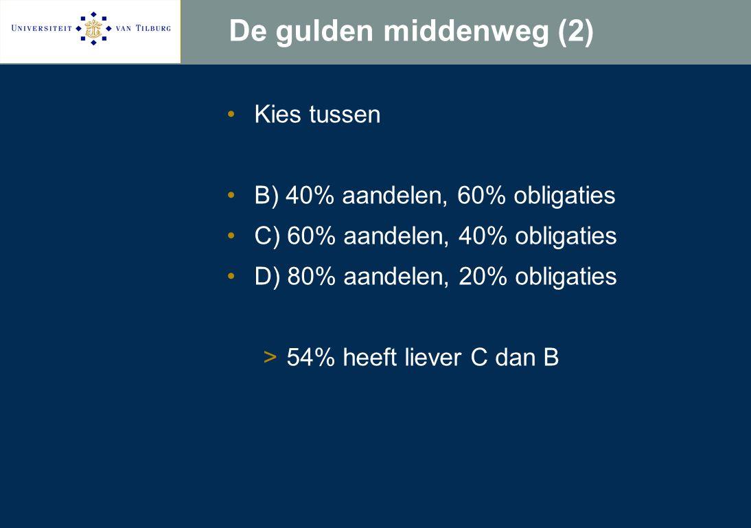 De gulden middenweg (2) Kies tussen B) 40% aandelen, 60% obligaties C) 60% aandelen, 40% obligaties D) 80% aandelen, 20% obligaties >54% heeft liever C dan B