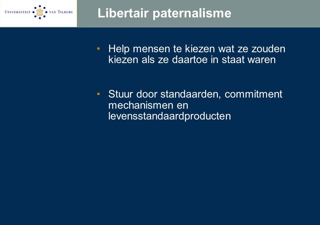 Libertair paternalisme Help mensen te kiezen wat ze zouden kiezen als ze daartoe in staat waren Stuur door standaarden, commitment mechanismen en levensstandaardproducten