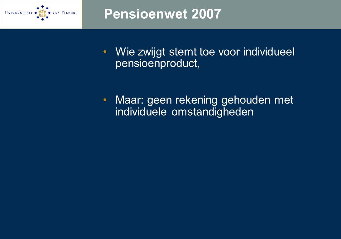 Pensioenwet 2007 Wie zwijgt stemt toe voor individueel pensioenproduct, Maar: geen rekening gehouden met individuele omstandigheden