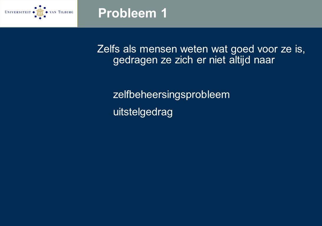 Probleem 1 Zelfs als mensen weten wat goed voor ze is, gedragen ze zich er niet altijd naar zelfbeheersingsprobleem uitstelgedrag