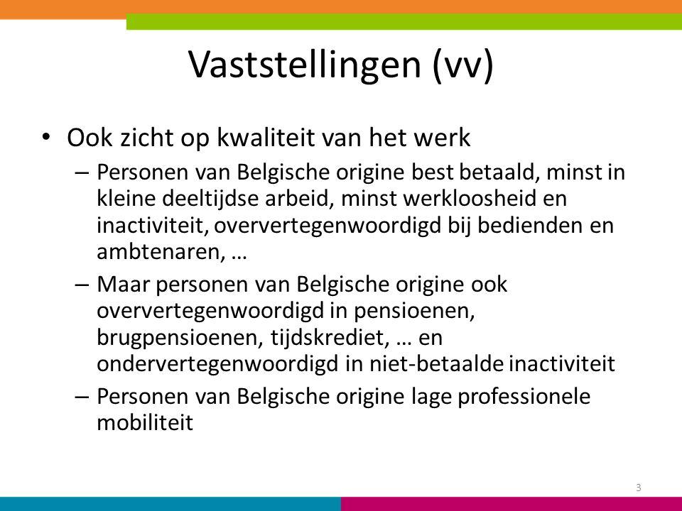 Vaststellingen (vv) Ook zicht op kwaliteit van het werk – Personen van Belgische origine best betaald, minst in kleine deeltijdse arbeid, minst werklo