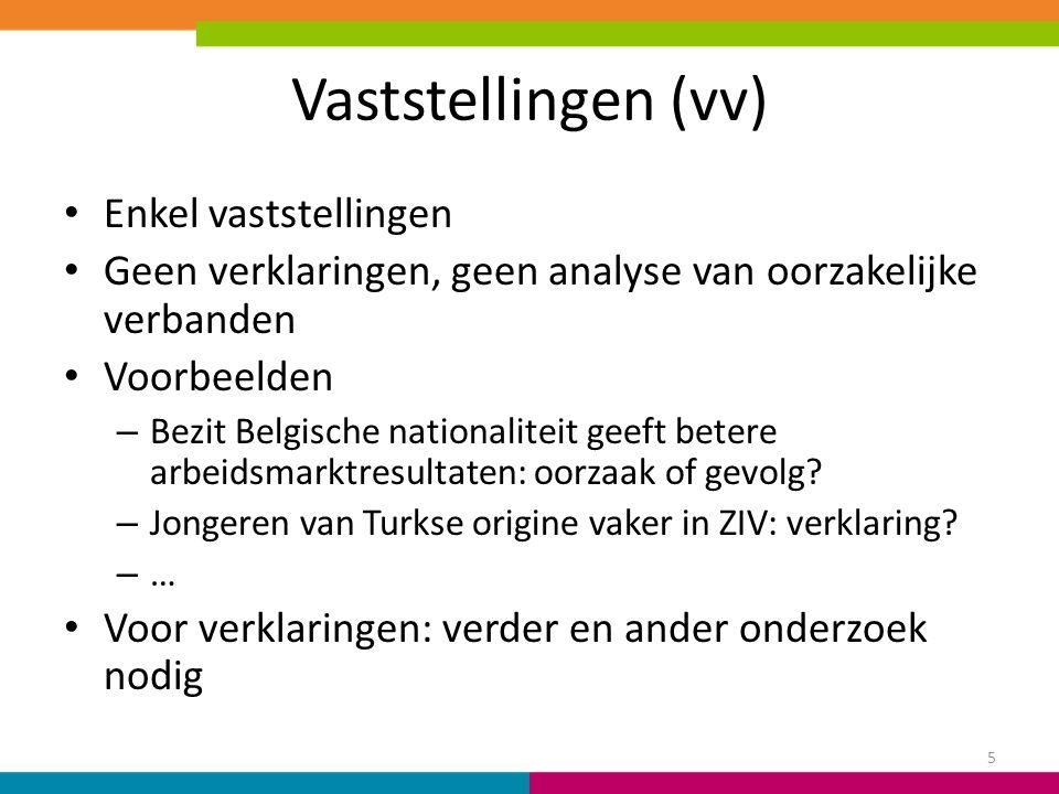 Vaststellingen (vv) Enkel vaststellingen Geen verklaringen, geen analyse van oorzakelijke verbanden Voorbeelden – Bezit Belgische nationaliteit geeft betere arbeidsmarktresultaten: oorzaak of gevolg.