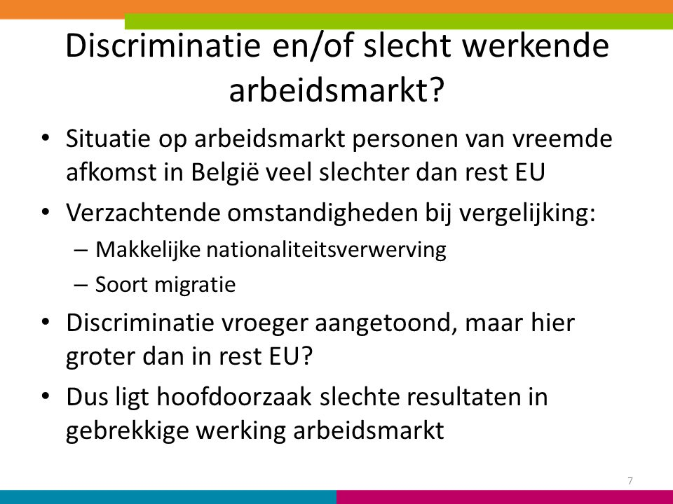 Discriminatie en/of slecht werkende arbeidsmarkt? Situatie op arbeidsmarkt personen van vreemde afkomst in België veel slechter dan rest EU Verzachten