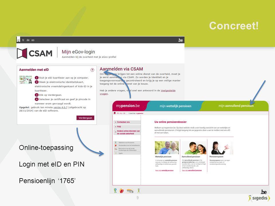 9 Concreet! Online-toepassing Login met eID en PIN Pensioenlijn '1765'