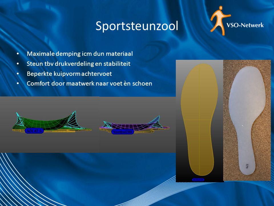 Sportsteunzool Maximale demping icm dun materiaal Steun tbv drukverdeling en stabiliteit Beperkte kuipvorm achtervoet Comfort door maatwerk naar voet