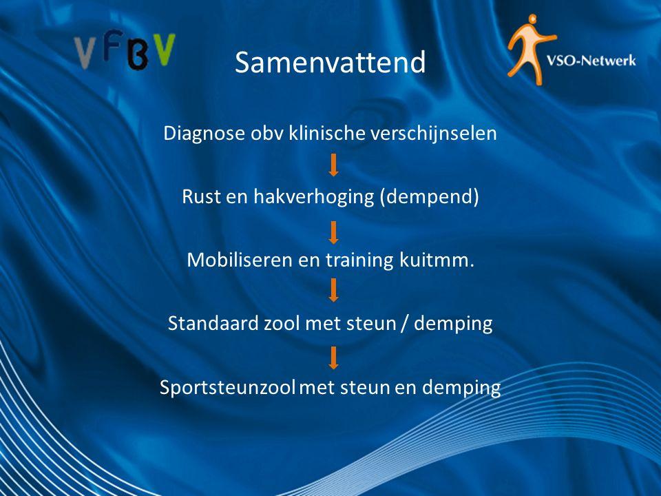 Samenvattend Diagnose obv klinische verschijnselen Rust en hakverhoging (dempend) Mobiliseren en training kuitmm. Standaard zool met steun / demping S
