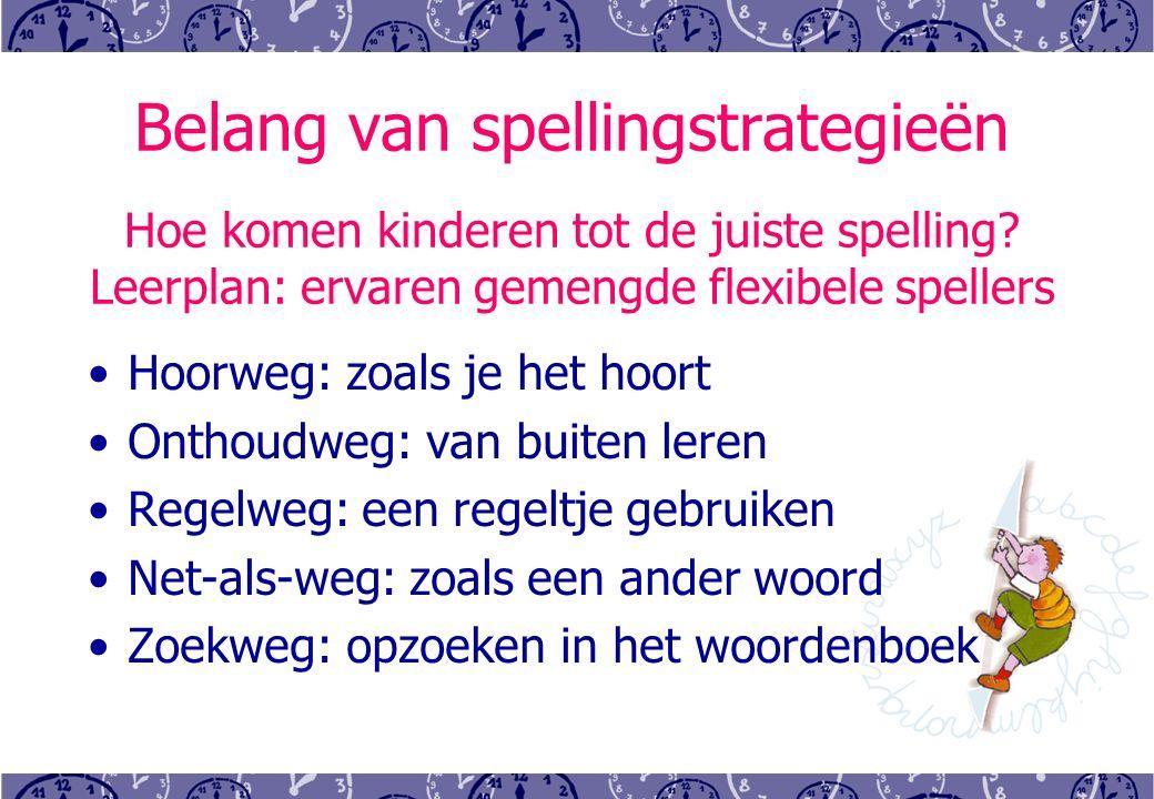 Belang van spellingstrategieën Hoe komen kinderen tot de juiste spelling.