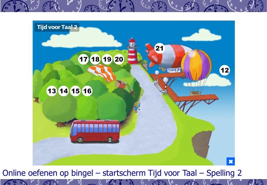 Online oefenen op bingel – startscherm Tijd voor Taal – Spelling 2