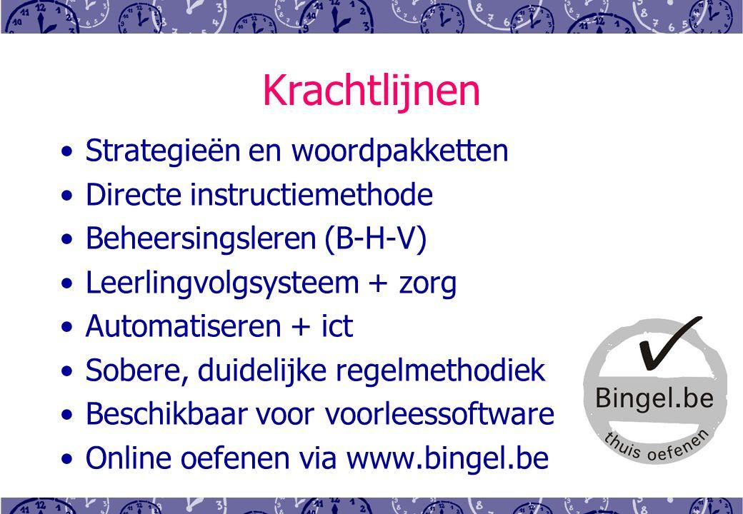Krachtlijnen Strategieën en woordpakketten Directe instructiemethode Beheersingsleren (B-H-V) Leerlingvolgsysteem + zorg Automatiseren + ict Sobere, duidelijke regelmethodiek Beschikbaar voor voorleessoftware Online oefenen via www.bingel.be