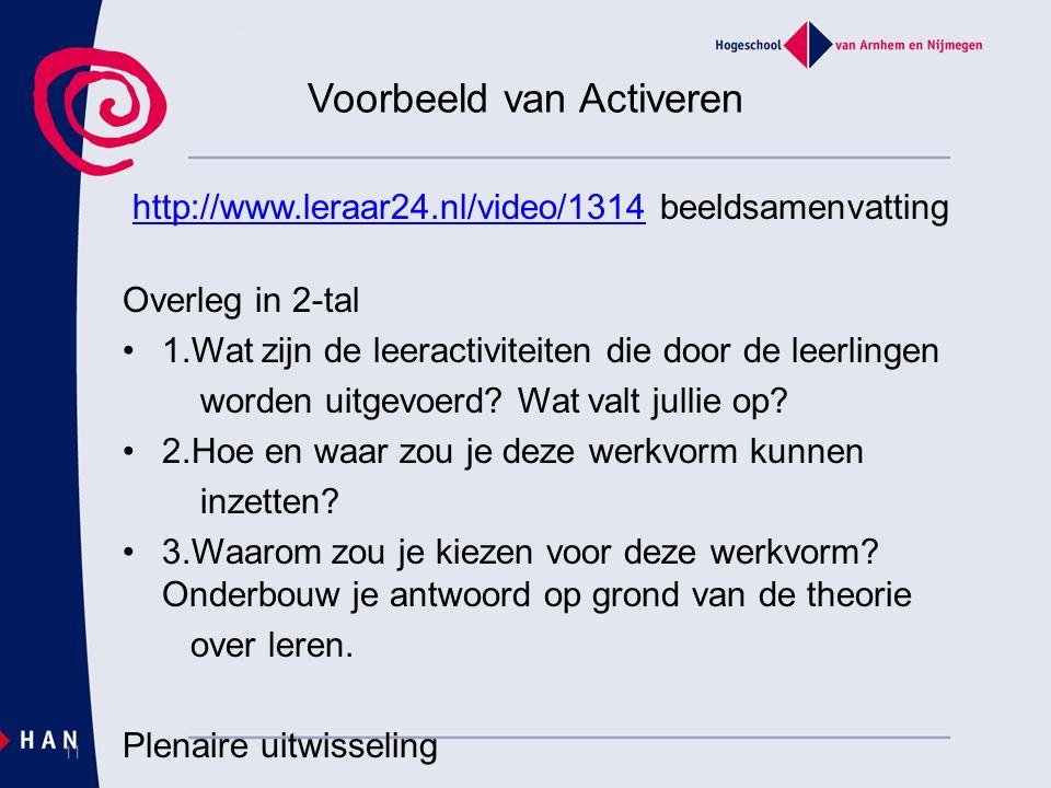 Voorbeeld van Activeren http://www.leraar24.nl/video/1314 beeldsamenvattinghttp://www.leraar24.nl/video/1314 Overleg in 2-tal 1.Wat zijn de leeractiviteiten die door de leerlingen worden uitgevoerd.