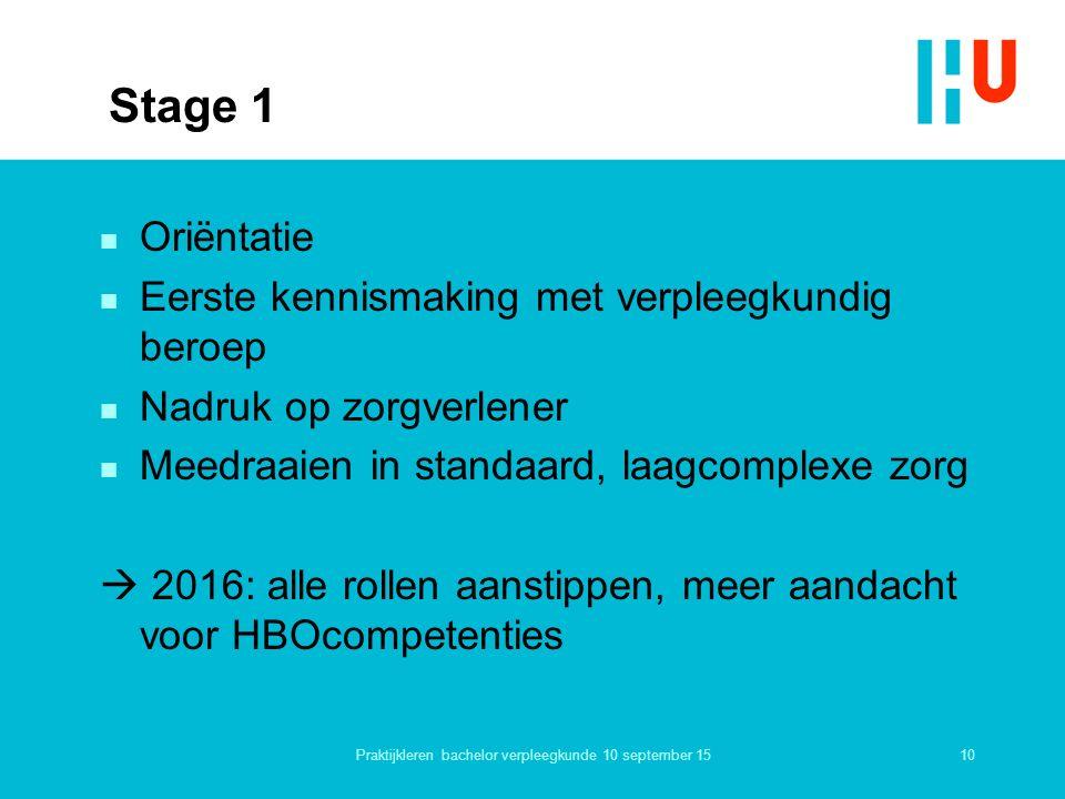 Stage 1 n Oriëntatie n Eerste kennismaking met verpleegkundig beroep n Nadruk op zorgverlener n Meedraaien in standaard, laagcomplexe zorg  2016: all