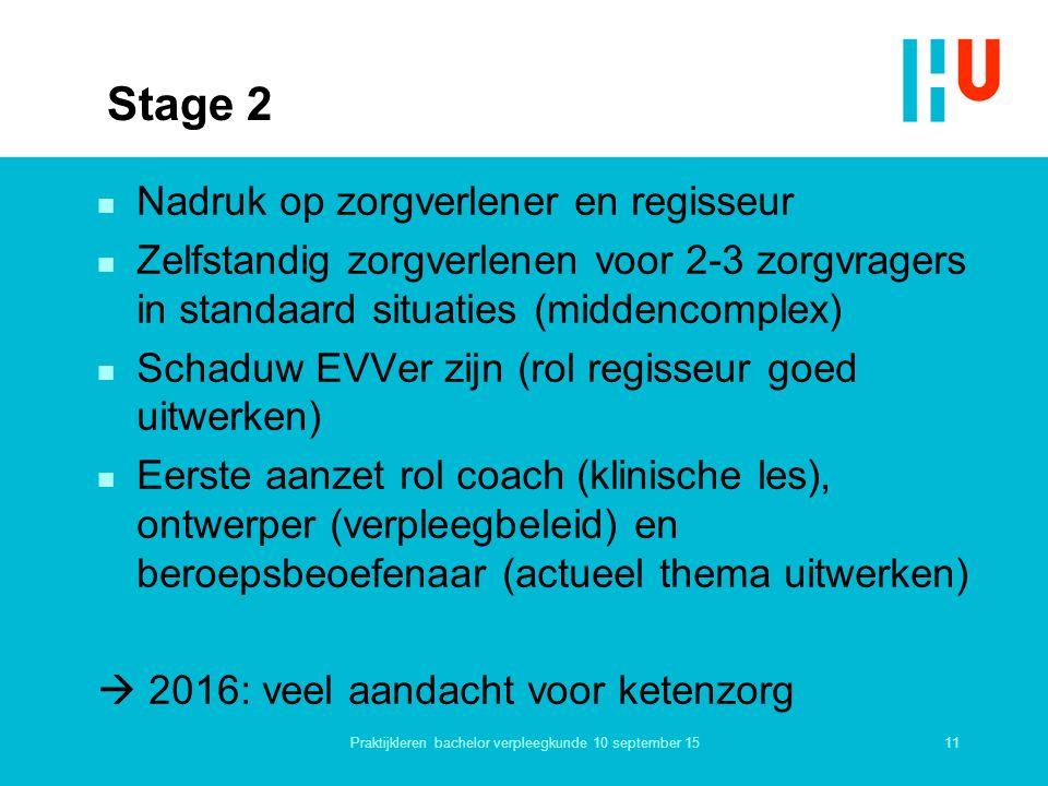 Stage 2 n Nadruk op zorgverlener en regisseur n Zelfstandig zorgverlenen voor 2-3 zorgvragers in standaard situaties (middencomplex) n Schaduw EVVer z