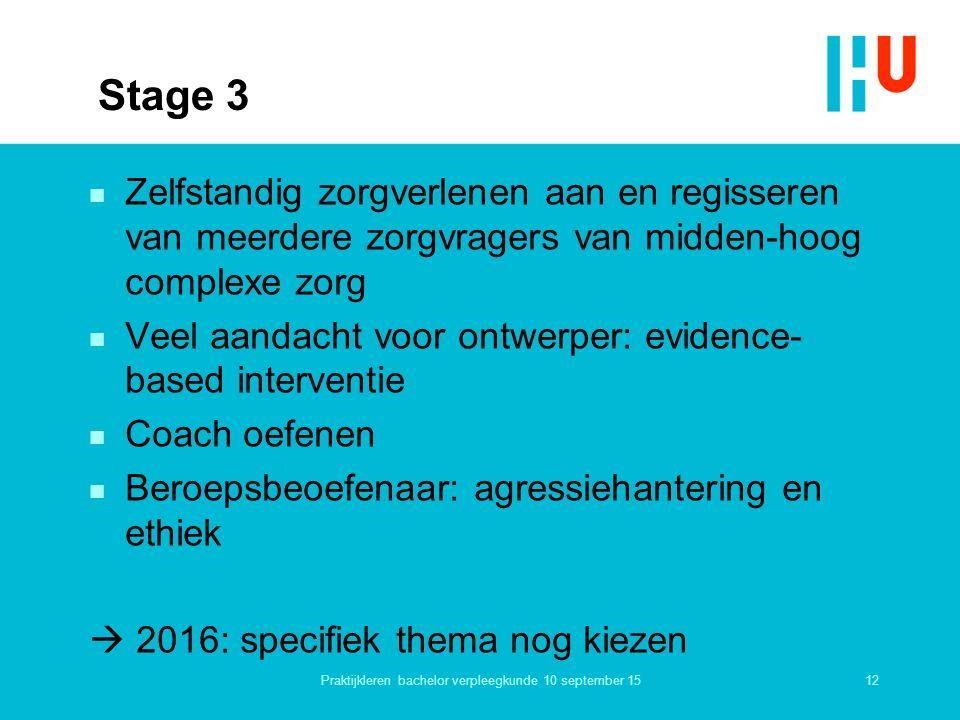 Stage 3 n Zelfstandig zorgverlenen aan en regisseren van meerdere zorgvragers van midden-hoog complexe zorg n Veel aandacht voor ontwerper: evidence-