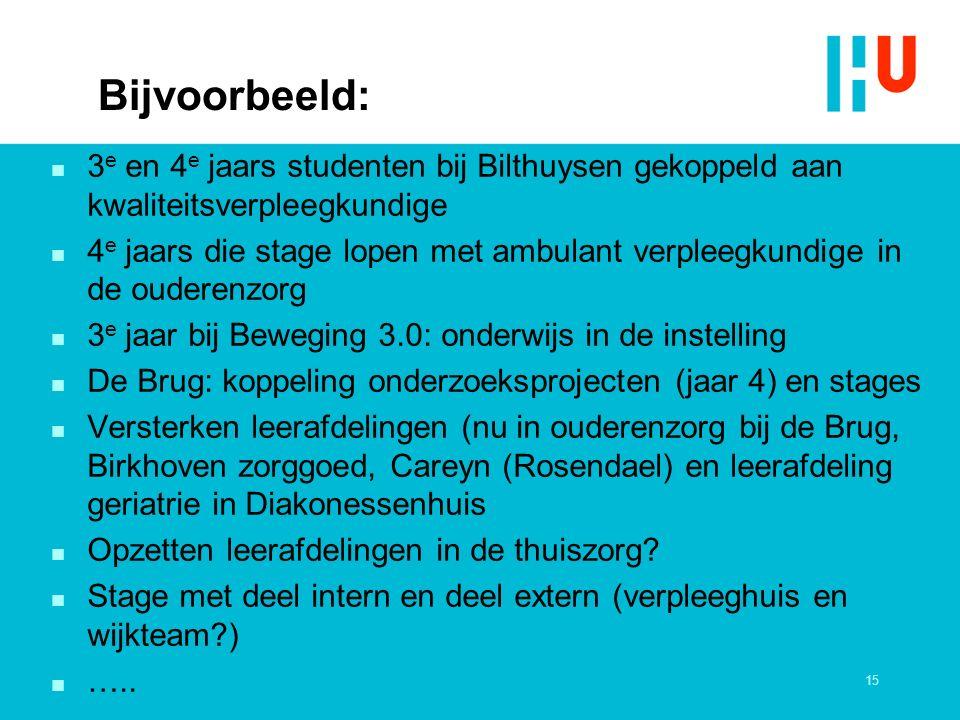 Bijvoorbeeld: n 3 e en 4 e jaars studenten bij Bilthuysen gekoppeld aan kwaliteitsverpleegkundige n 4 e jaars die stage lopen met ambulant verpleegkun