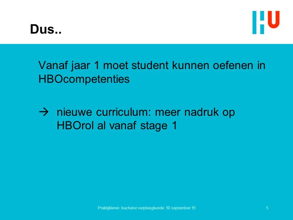 Dus.. Vanaf jaar 1 moet student kunnen oefenen in HBOcompetenties  nieuwe curriculum: meer nadruk op HBOrol al vanaf stage 1 5Praktijkleren bachelor
