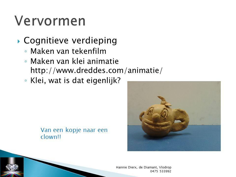  Cognitieve verdieping ◦ Maken van tekenfilm ◦ Maken van klei animatie http://www.dreddes.com/animatie/ ◦ Klei, wat is dat eigenlijk.