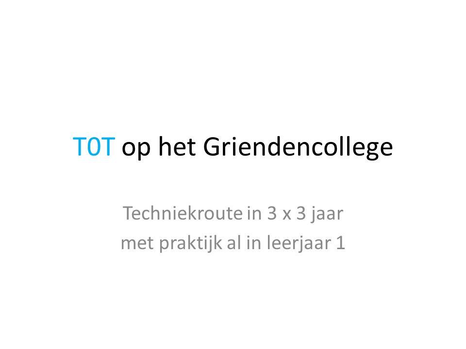 T0T op het Griendencollege Techniekroute in 3 x 3 jaar met praktijk al in leerjaar 1