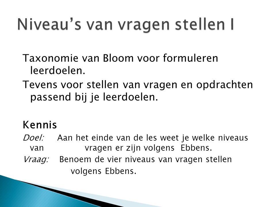 Taxonomie van Bloom voor formuleren leerdoelen.