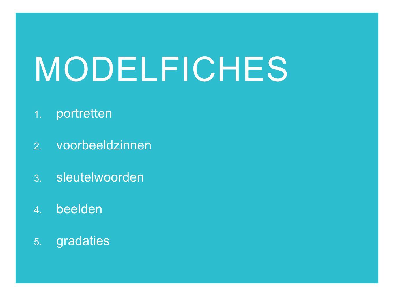 MODELFICHES 1. portretten 2. voorbeeldzinnen 3. sleutelwoorden 4. beelden 5. gradaties
