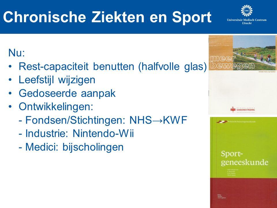Chronische Ziekten en Sport Nu: Rest-capaciteit benutten (halfvolle glas) Leefstijl wijzigen Gedoseerde aanpak Ontwikkelingen: - Fondsen/Stichtingen: NHS→KWF - Industrie: Nintendo-Wii - Medici: bijscholingen