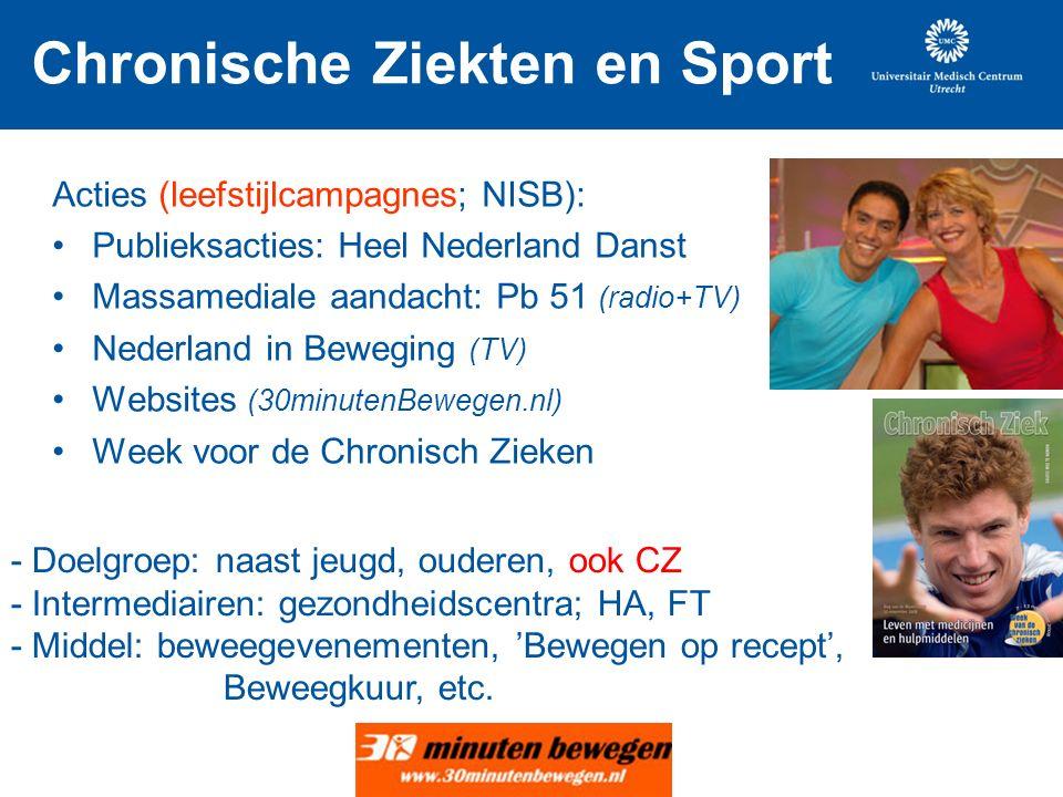 Chronische Ziekten en Sport Acties (leefstijlcampagnes; NISB): Publieksacties: Heel Nederland Danst Massamediale aandacht: Pb 51 (radio+TV) Nederland in Beweging (TV) Websites (30minutenBewegen.nl) Week voor de Chronisch Zieken - Doelgroep: naast jeugd, ouderen, ook CZ - Intermediairen: gezondheidscentra; HA, FT - Middel: beweegevenementen, 'Bewegen op recept', Beweegkuur, etc.