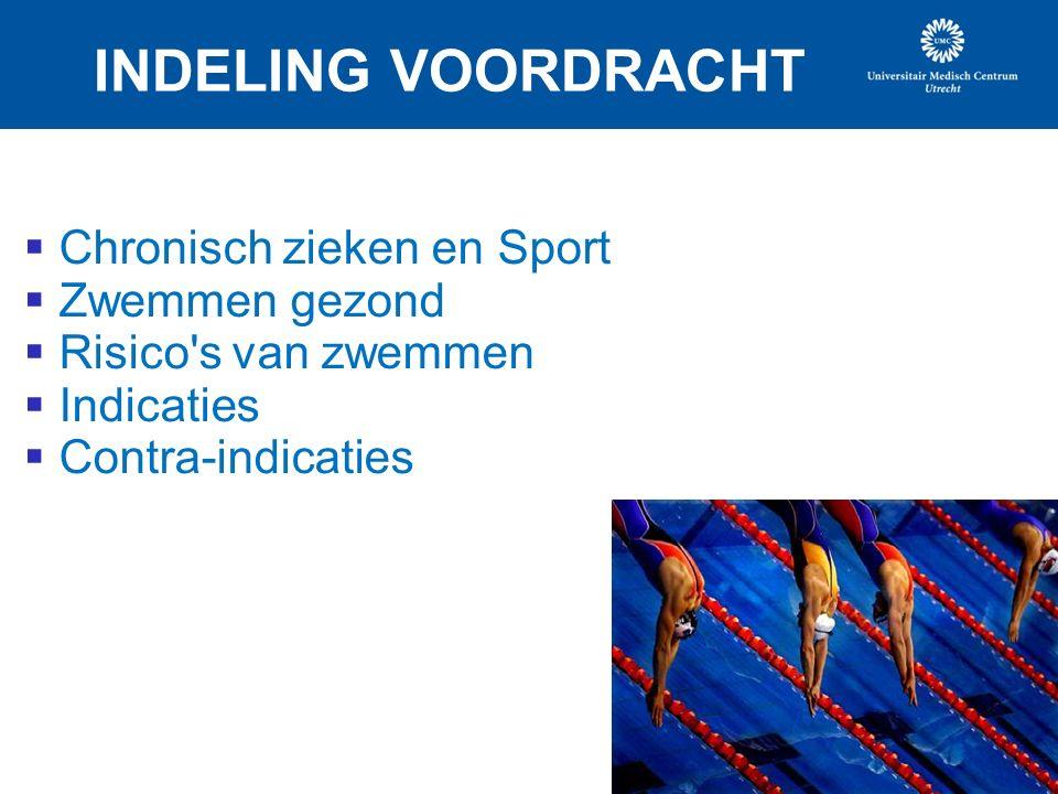 INDELING VOORDRACHT  Chronisch zieken en Sport  Zwemmen gezond  Risico s van zwemmen  Indicaties  Contra-indicaties