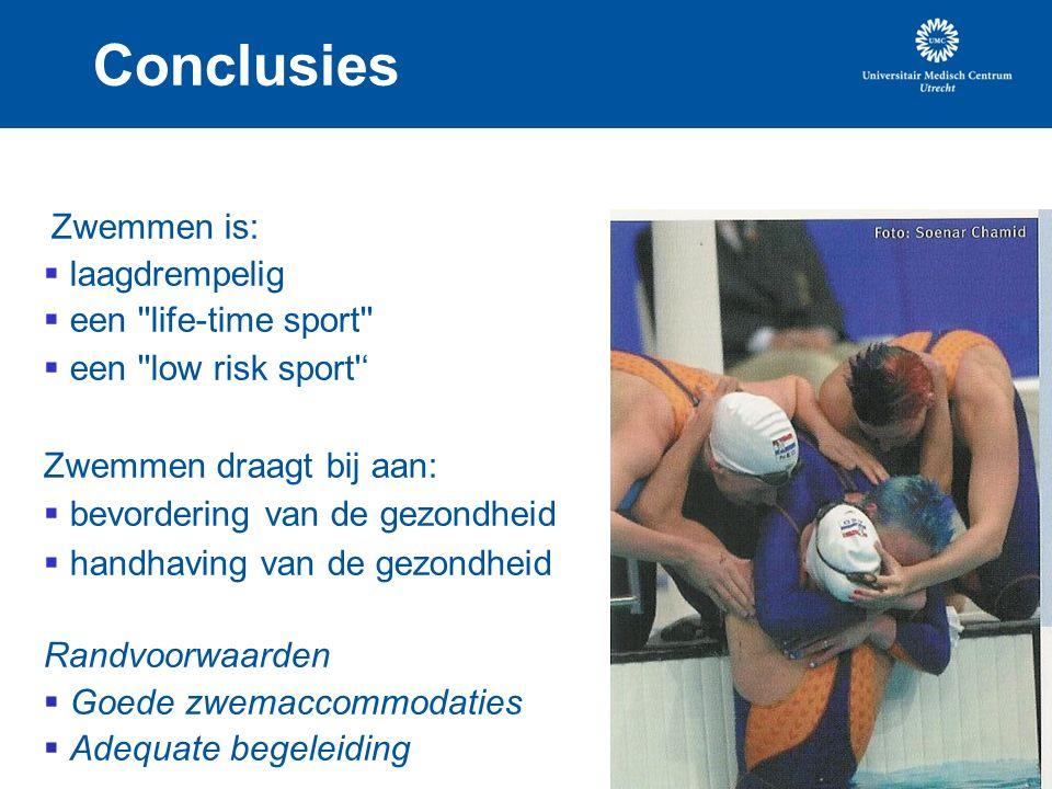 Conclusies Zwemmen is:  laagdrempelig  een life-time sport  een low risk sport ' Zwemmen draagt bij aan:  bevordering van de gezondheid  handhaving van de gezondheid Randvoorwaarden  Goede zwemaccommodaties  Adequate begeleiding