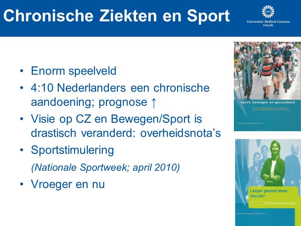 Chronische Ziekten en Sport Enorm speelveld 4:10 Nederlanders een chronische aandoening; prognose ↑ Visie op CZ en Bewegen/Sport is drastisch veranderd: overheidsnota's Sportstimulering (Nationale Sportweek; april 2010) Vroeger en nu