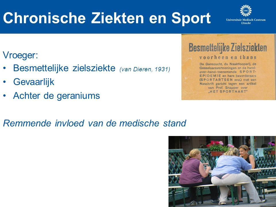 Chronische Ziekten en Sport Vroeger: Besmettelijke zielsziekte (van Dieren, 1931) Gevaarlijk Achter de geraniums Remmende invloed van de medische stand