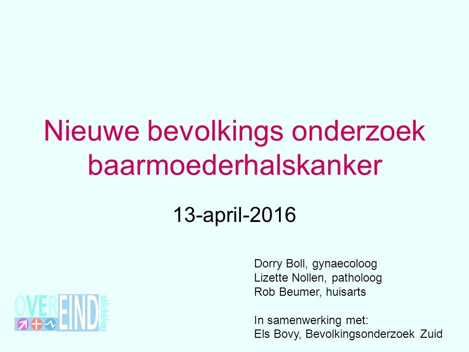 Nieuwe bevolkings onderzoek baarmoederhalskanker 13-april-2016 Dorry Boll, gynaecoloog Lizette Nollen, patholoog Rob Beumer, huisarts In samenwerking met: Els Bovy, Bevolkingsonderzoek Zuid
