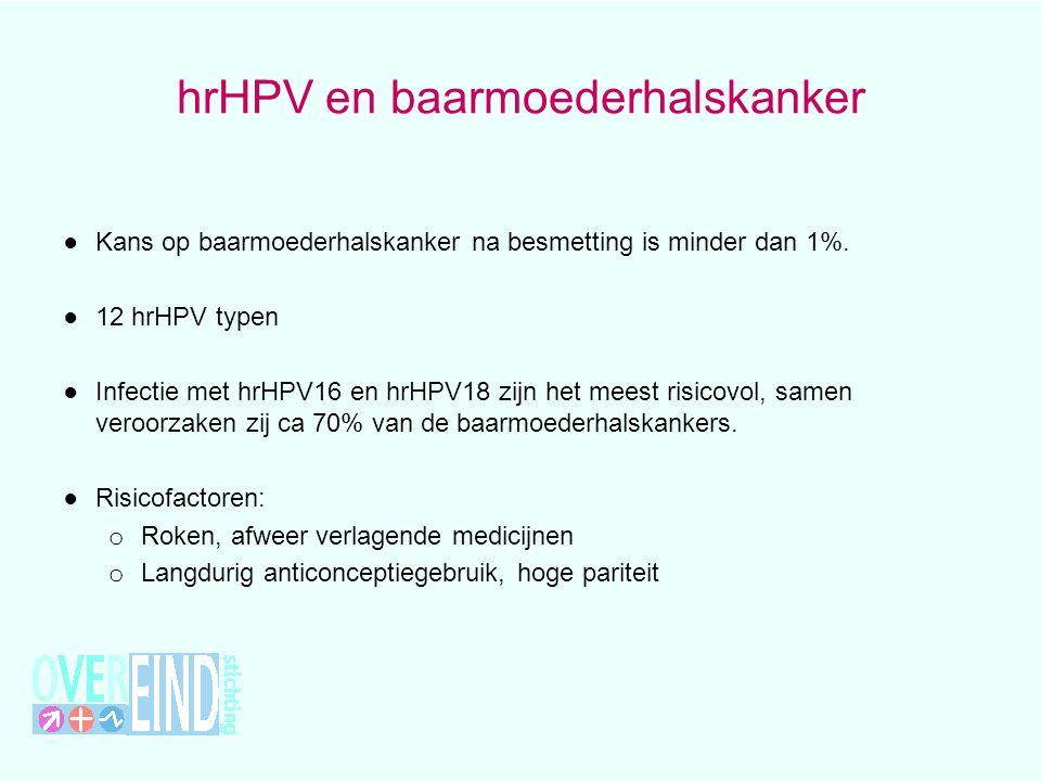 hrHPV en baarmoederhalskanker ● Kans op baarmoederhalskanker na besmetting is minder dan 1%. ● 12 hrHPV typen ● Infectie met hrHPV16 en hrHPV18 zijn h