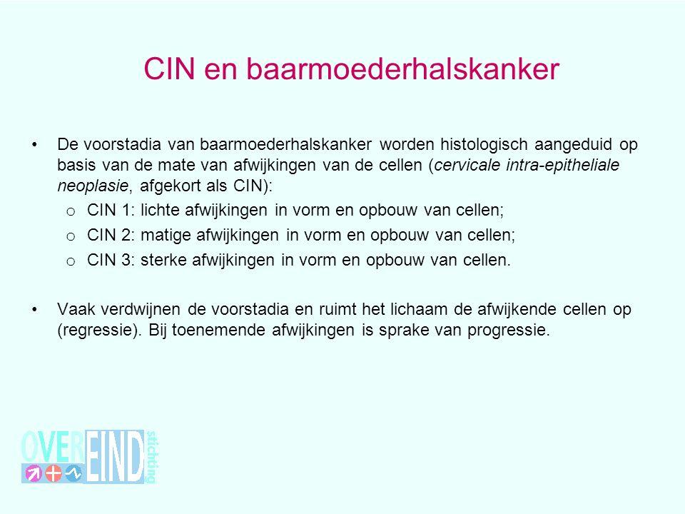 CIN en baarmoederhalskanker De voorstadia van baarmoederhalskanker worden histologisch aangeduid op basis van de mate van afwijkingen van de cellen (cervicale intra-epitheliale neoplasie, afgekort als CIN): o CIN 1: lichte afwijkingen in vorm en opbouw van cellen; o CIN 2: matige afwijkingen in vorm en opbouw van cellen; o CIN 3: sterke afwijkingen in vorm en opbouw van cellen.