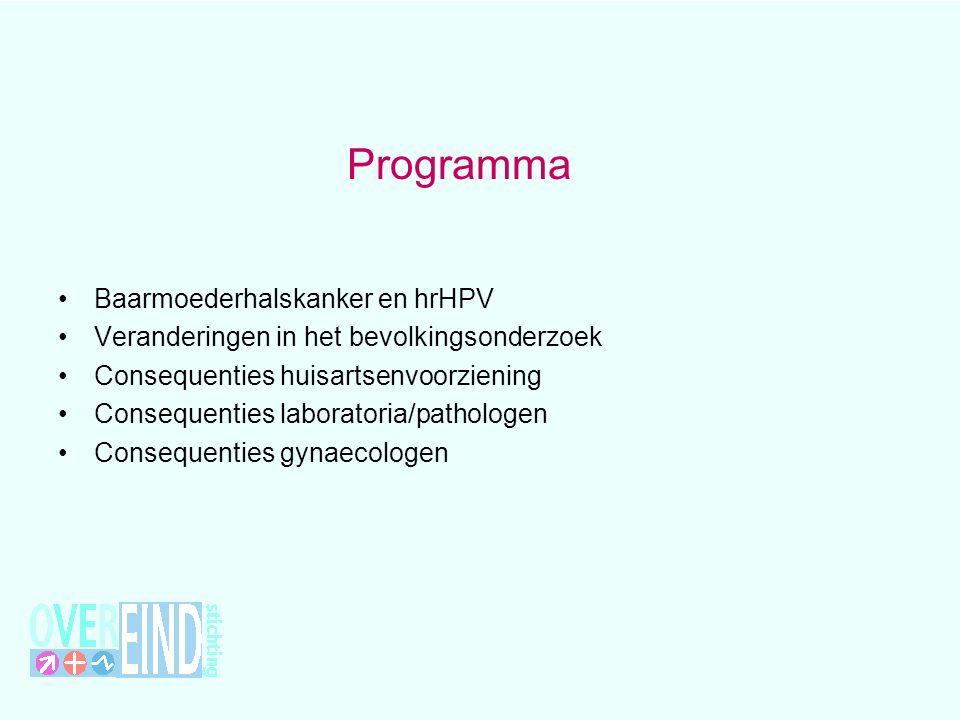 Programma Baarmoederhalskanker en hrHPV Veranderingen in het bevolkingsonderzoek Consequenties huisartsenvoorziening Consequenties laboratoria/patholo