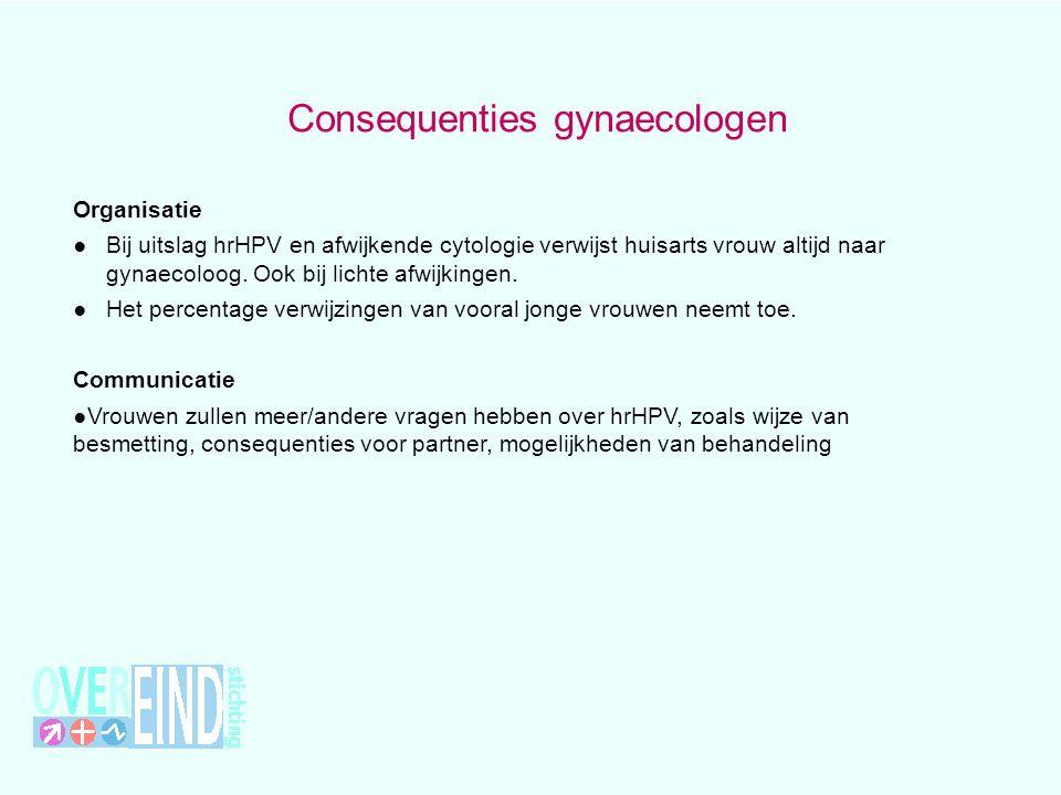 Consequenties gynaecologen Organisatie ● Bij uitslag hrHPV en afwijkende cytologie verwijst huisarts vrouw altijd naar gynaecoloog. Ook bij lichte afw