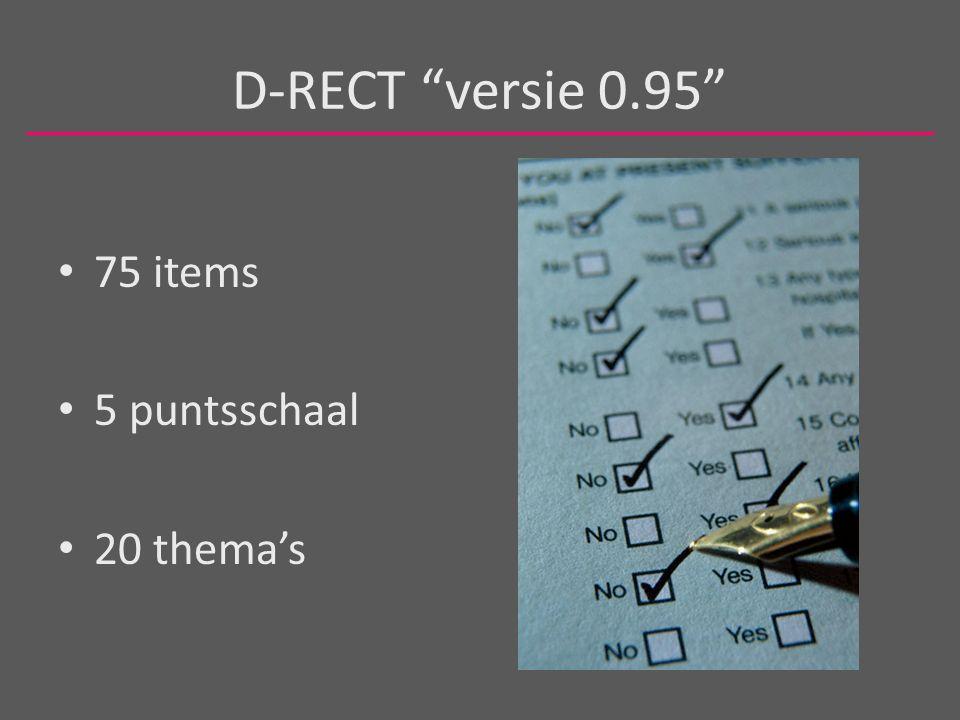 D-RECT versie 0.95 75 items 5 puntsschaal 20 thema's