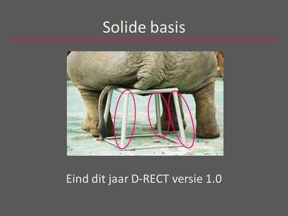 Solide basis Eind dit jaar D-RECT versie 1.0