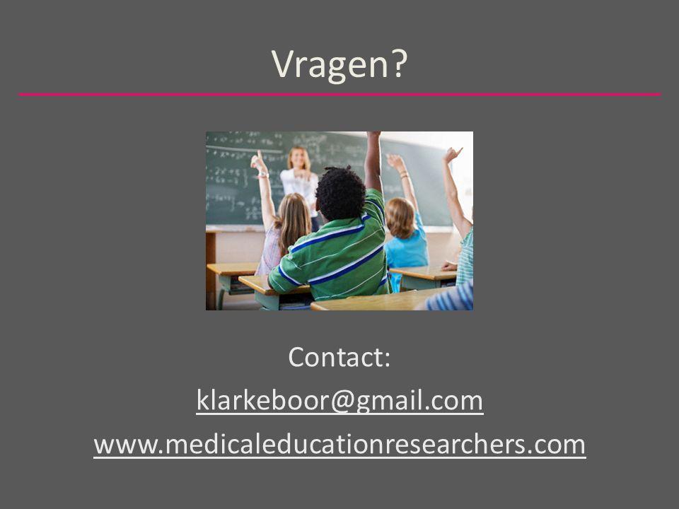 Vragen Contact: klarkeboor@gmail.com www.medicaleducationresearchers.com