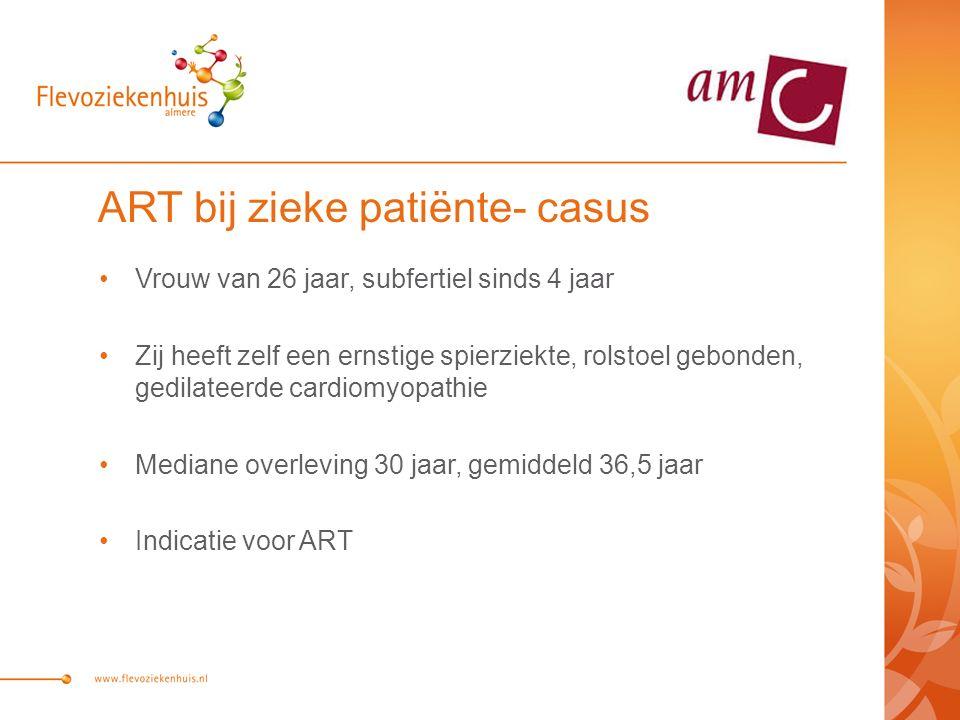 ART bij zieke patiënte- casus Vrouw van 26 jaar, subfertiel sinds 4 jaar Zij heeft zelf een ernstige spierziekte, rolstoel gebonden, gedilateerde cardiomyopathie Mediane overleving 30 jaar, gemiddeld 36,5 jaar Indicatie voor ART