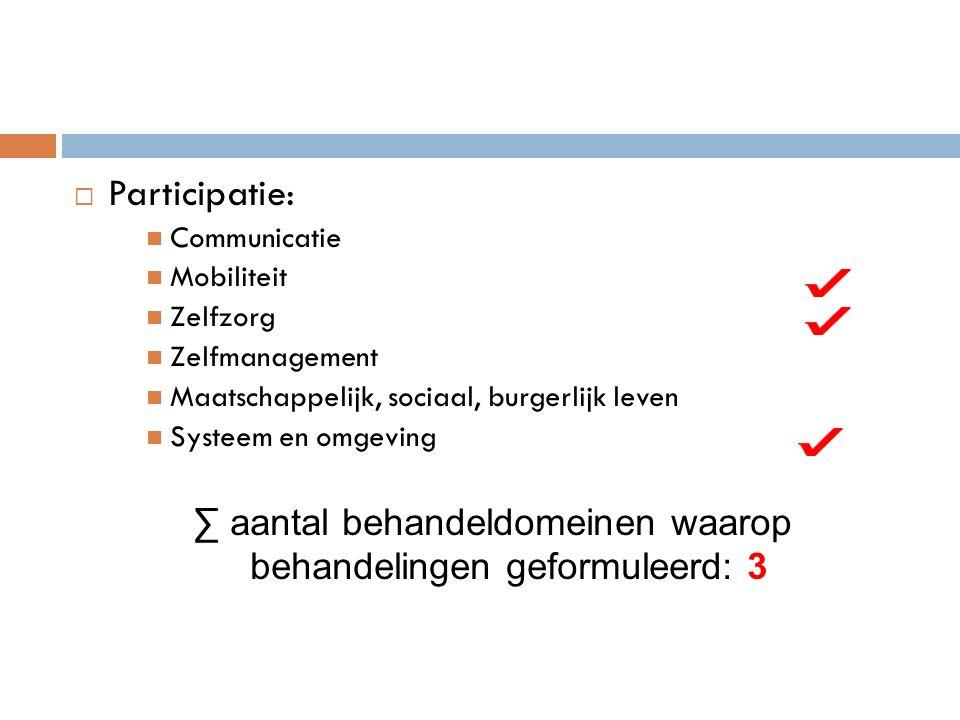  Participatie: Communicatie Mobiliteit Zelfzorg Zelfmanagement Maatschappelijk, sociaal, burgerlijk leven Systeem en omgeving ∑ aantal behandeldomeinen waarop behandelingen geformuleerd: 3
