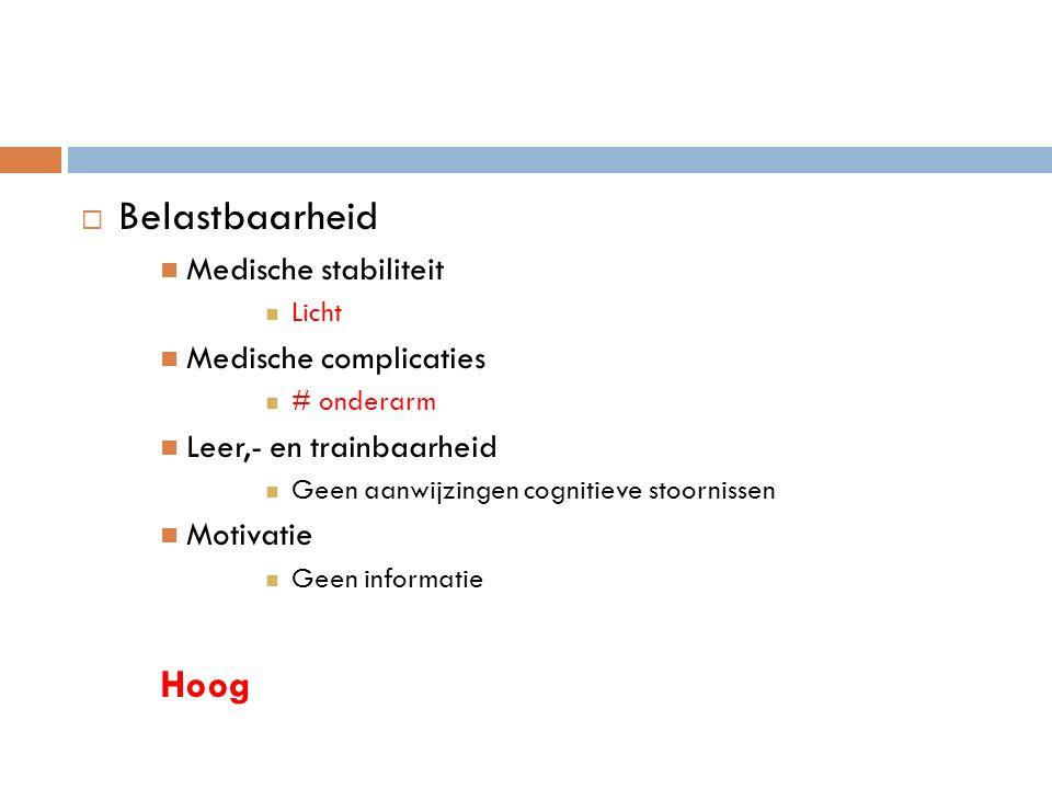  Belastbaarheid Medische stabiliteit Licht Medische complicaties # onderarm Leer,- en trainbaarheid Geen aanwijzingen cognitieve stoornissen Motivatie Geen informatie Hoog
