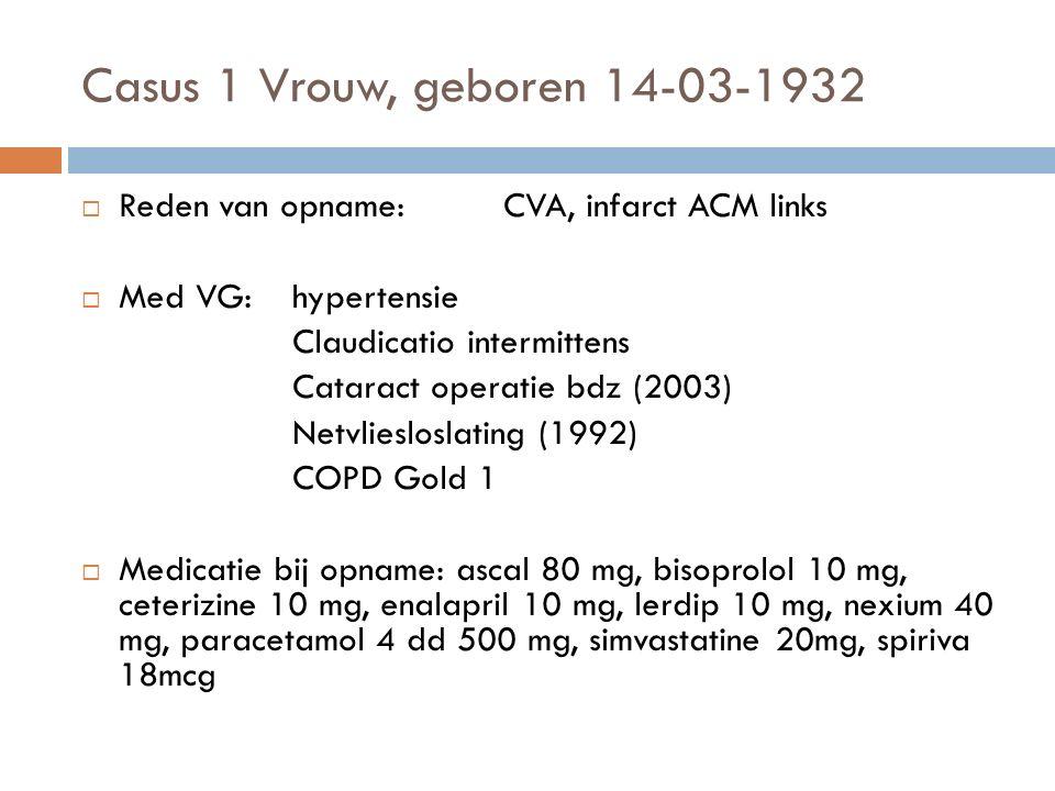 Casus 1 Vrouw, geboren 14-03-1932  Reden van opname:CVA, infarct ACM links  Med VG:hypertensie Claudicatio intermittens Cataract operatie bdz (2003) Netvliesloslating (1992) COPD Gold 1  Medicatie bij opname: ascal 80 mg, bisoprolol 10 mg, ceterizine 10 mg, enalapril 10 mg, lerdip 10 mg, nexium 40 mg, paracetamol 4 dd 500 mg, simvastatine 20mg, spiriva 18mcg