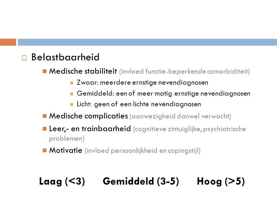  Belastbaarheid Medische stabiliteit (invloed functie-beperkende comorbiditeit) Zwaar: meerdere ernstige nevendiagnosen Gemiddeld: een of meer matig ernstige nevendiagnosen Licht: geen of een lichte nevendiagnosen Medische complicaties (aanwezigheid danwel verwacht) Leer,- en trainbaarheid (cognitieve zintuiglijke, psychiatrische problemen) Motivatie (invloed persoonlijkheid en copingstijl) Laag ( 5)