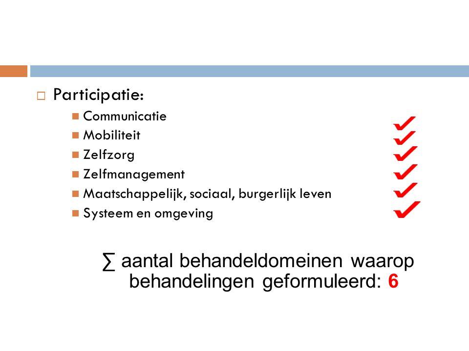  Participatie: Communicatie Mobiliteit Zelfzorg Zelfmanagement Maatschappelijk, sociaal, burgerlijk leven Systeem en omgeving ∑ aantal behandeldomeinen waarop behandelingen geformuleerd: 6