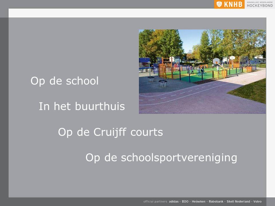 Op de school In het buurthuis Op de Cruijff courts Op de schoolsportvereniging